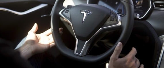 New Autopilot features are demonstrated in a Tesla Model S during a Tesla event in Palo Alto, California October 14, 2015. REUTERS/Beck Diefenbach